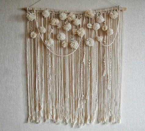 Pom pom Macrame Wall Hanging, Large Macrame Wall Hanging, Macrame Wall Hanging, Woven Wall Hanging,B