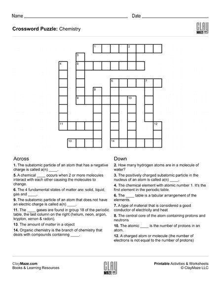 Algebra Crossword Puzzle Worksheets Chemistry Themed Crossword Puzzle Childrens In 2020 Printable Crossword Puzzles Wedding Crossword Puzzle Free Wedding Printables