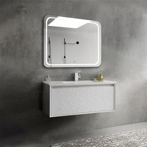 Mobile Bagno Sospeso Moderno 100 Cm Con Specchio Led Helios
