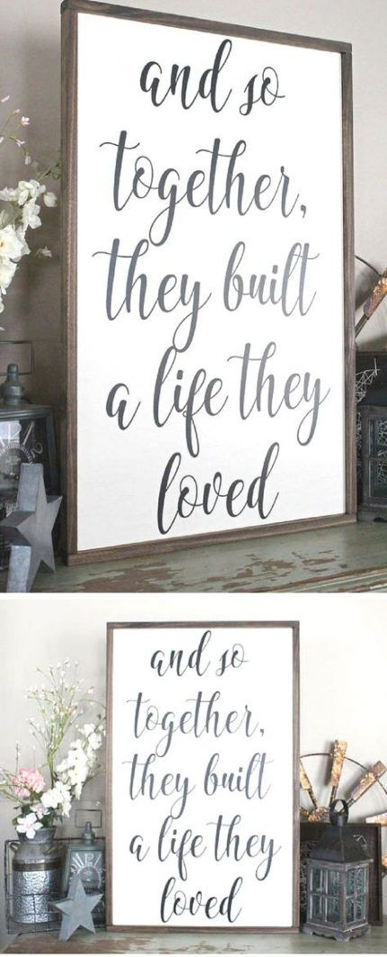 Cottage rustic look and distressed Together they built a life they loved wood trimmed sign//rustic sign//living room decor