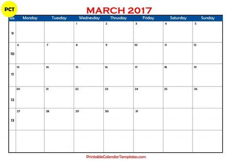 march 2017 calendar, march 2017 monthly calendar, march 2017 - attendance calendar templates