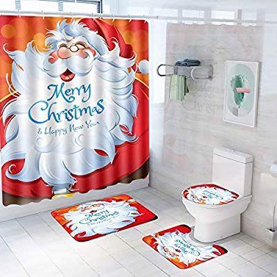 Christmas Shower Curtain Bath Mat Toilet Cover Rug New Year Home Bathroom Decor