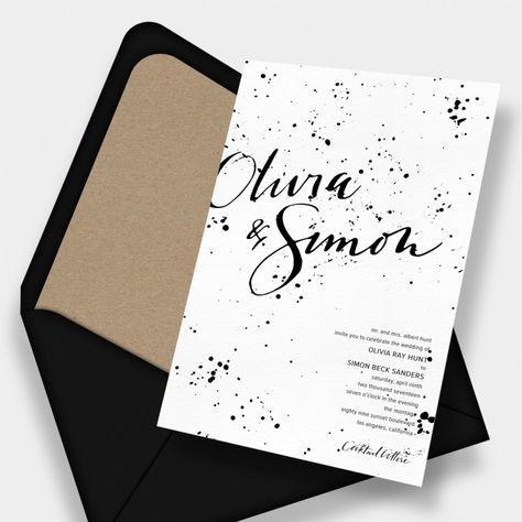Ink Splatter Calligraphy Wedding Invitation / Anne Robin Calligraphy / Black + White / Black + Kraft / Letterpress / Modern / Minimal / Customizable / Design Your Own / #myownblissandbone