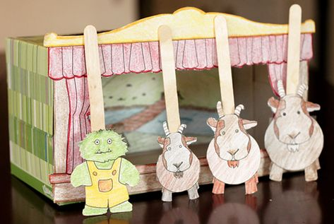 Kleenex box puppet stage from madebybedtimetales.com: free printable for this project