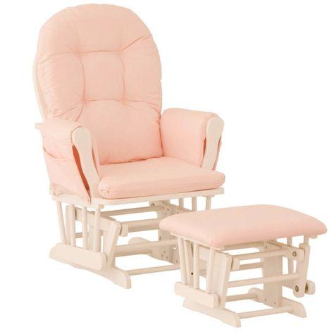 Nursery Glider Chair Baby Rocker Furniture Ottoman Set Pink
