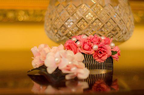 Flower hair comb made from silk flowers and pearls. Floral designer Klara Uhlirova.