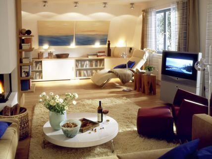wohnzimmer retro holzmöbel kamin teppich rautenmuster schwarz weiß