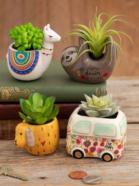 Faux Critter Succulents|Grey Llama