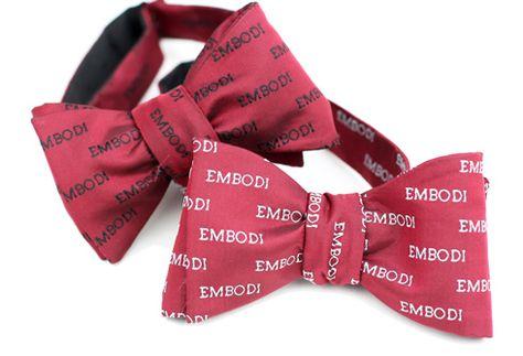 63e37c331508 Custom made bow ties with company logo.