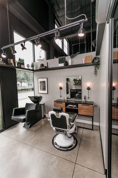 New Vintage Barber Shop — Tailored by KD Modern Barber Shop, Best Barber Shop, Barber Shop Interior, Barber Shop Decor, Hair Salon Interior, Salon Interior Design, Home Salon, Barber Shop Vintage, Spa Design
