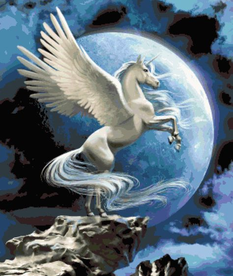 Pegasus Moon:  Fantasy Creatures Inspired Cross-stitch Pattern, Pixel Art Image, Perler Bead Work Design