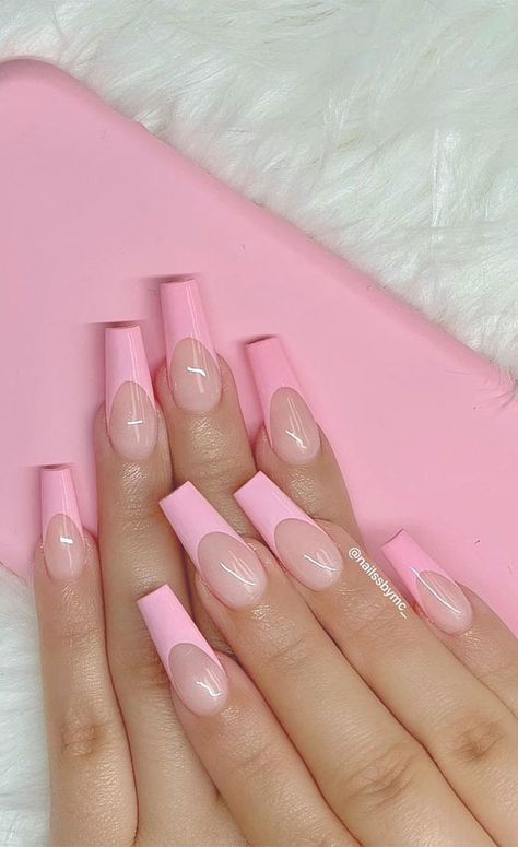 27. Baby Pink Coffin French Nail Tips The nail salons are opened, so if you want to get rids of those chipped nails or...