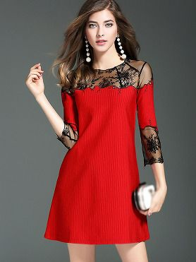2690f13a3 Sexy See-through Patchwork Lace Skater Dress en 2019