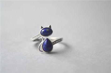 Anillo gato de lapislázuli, plata esterlina anillo de gato, zirconia anillo de gato, lasurite gato anillo, anillo del gran gato azul de Marina de guerra, ajustable (JZ74)