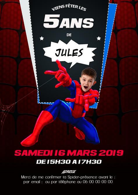 Invitation Danniversaire Personnalisable Thème Spiderman