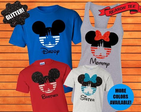 7994239c0 Welcome to Reason Tee! Order your matching family Disney Castle on a Mickey  Ears or Minnie Ears t-shirts for your trip to Disneyland, Disney World, ...