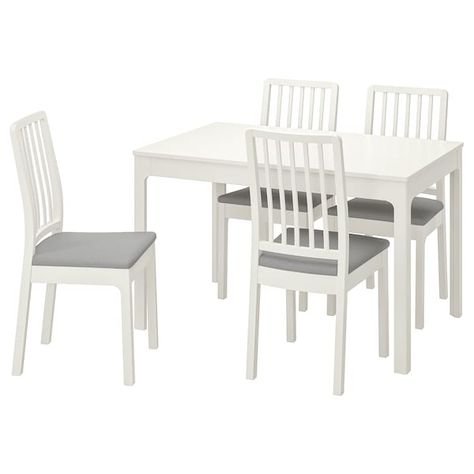 Ekedalen Ekedalen Table And 4 Chairs White Orrsta Light Gray