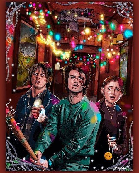 Stranger Things Steve, Jonathan, and Nancy by Matthew Brazier, matthew_brazier, Season 1, fanart