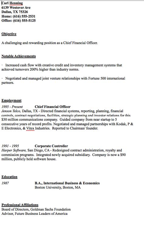 Sample Of CFO Resume - http\/\/resumesdesign\/sample-of-cfo - international controller resume