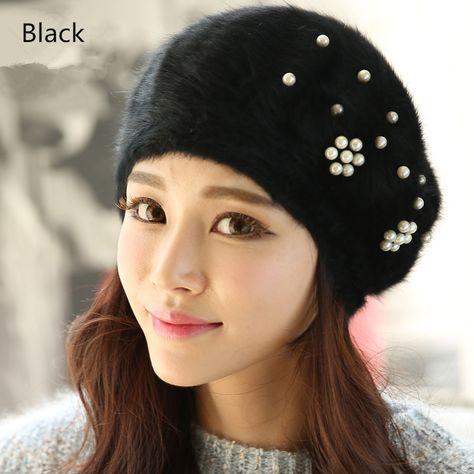393f525b11256 Womens beret hat pearl flower decoration knit hats for winter wear ...
