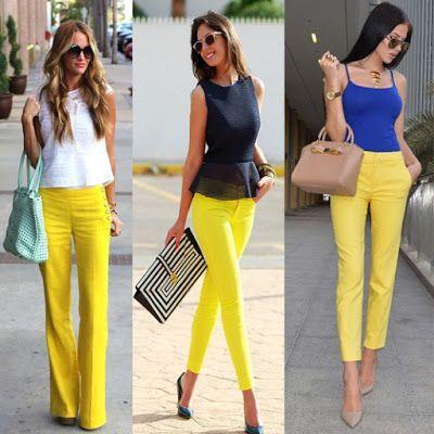 Cómo combinar combina pantalones amarillos con chaqueta de