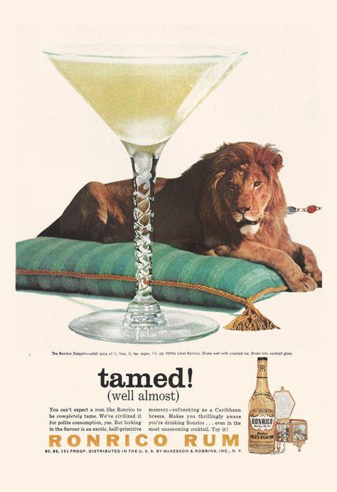 Vintage Rum Ad Retro Cocktail Ad Vintage Lion Poster Retro Ad