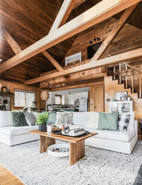 The Gaba modular sofa from Article took cabin cozy to the next level Modern Cabin Interior, Cabin Interior Design, Cabin Design, Wood Interior Walls, Wood House Design, Chalet Interior, Rustic Home Design, Wood Walls, Interior Colors
