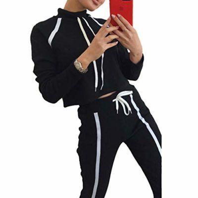 Mxssi Mujer Conjunto De Ropa De 2 Piezas Sudadera De Moda Casual Pantalones Largos Chandal Para Mujer Traje Con Capucha Fashion Adidas Jacket Athletic Jacket