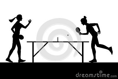Silhouettes Of Girls Playing Ping Pong Vector Ping Pong Girl Silhouette Silhouette