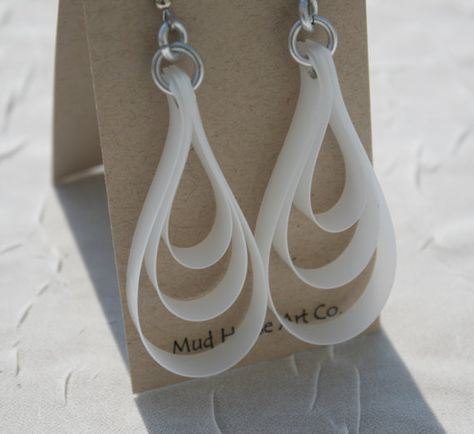 Recycled Milk Jug Earrings, Loops