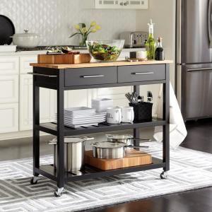 StyleWell Glenville Black Double Kitchen Cart, Black / Wood ...