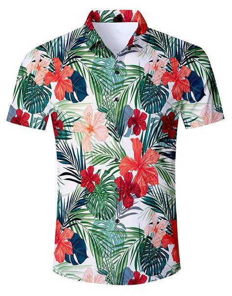 YYear Men Casual Slim Short Sleeve Lapel Collar Summer 3D Print Button Down Blouse Shirt