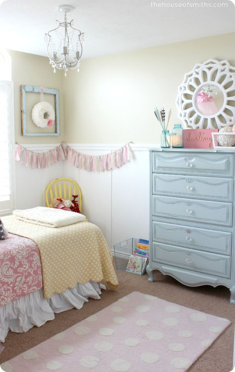 Girls Room Ideas. I like the dresser with the mirror on top