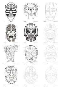 Masques africains 23 masques africains à peindre ou à colorier, à utiliser en maternelle comme en primaire, pour carnaval ou dans le cadre d'un projet sur l'Afrique, en histoire des arts.