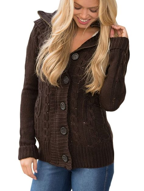 Sidefeel Women Hooded Knit Cardigans Button Cable Sweater Coat in ... 624117cd9