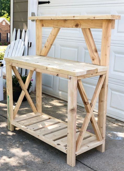 DIY Potting Bench – Build it Cheaper than Buying it Outdoor Potting Bench, Pallet Potting Bench, Potting Tables, Outdoor Tables, Planting Bench, Hanging Plant Wall, Furniture Scratches, Plant Table, Diy Farmhouse Table