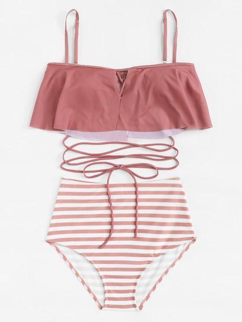 Flounce Tie Back Top With Striped High Waisted Bikini En 2020