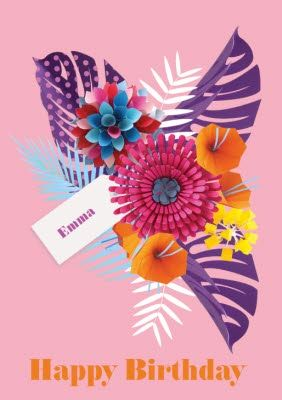 Bright Pink Tropical Flowers Personalised Happy Birthday Card Happy Birthday Cards Happy Birthday Birthday Cards
