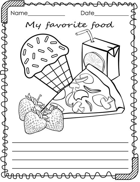 Food Coloring Pages My Favorite Food Coloring And Writing Activities Food Writing Activities Food Coloring Pages My Favorite Food
