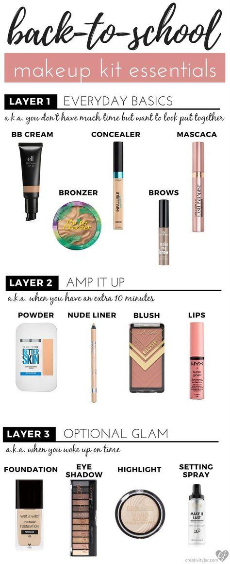 Back-To-School Makeup Kit Essentials - Creativity Jar - School makeup looks - #BackToSchool #Creativity #Essentials #Jar #Kit #Makeup #school #Schoolmakeuplooks