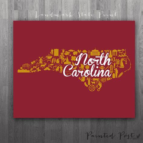 Elon North Carolina Landmark State Glicée Print  by PaintedPost, $15.00 #paintedpoststudio - Elon University - Phoenix