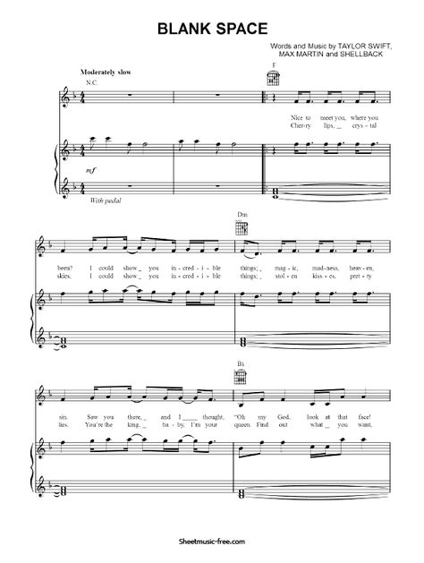 Blank Space Sheet Music Pdf Taylor Swift