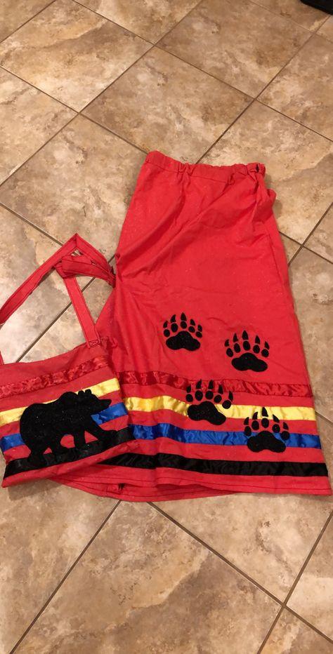 Bear paw ribbon skirt and matching bear ribbon purse