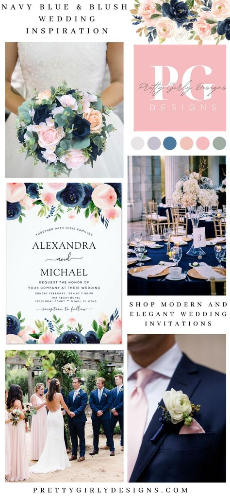 Wedding Navy Blue Blush Pink Elegant Floral Invitation Navy Blue and Blush Pink Modern and Elegant Floral Watercolor Spring Wedding Invitations - includes beautiful and elegant script typography with modern botanical flowers and greenery for the special Wedding day celebration. #weddinginvitation #navy #blue #blushpink #elegantwedding #weddingtheme