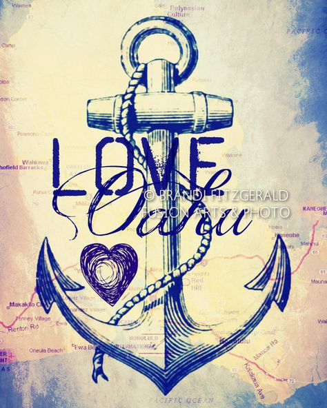 Love Oahu. Oahu Hawaii Map Nautical Anchor by BrandiFitzgerald, $20.00