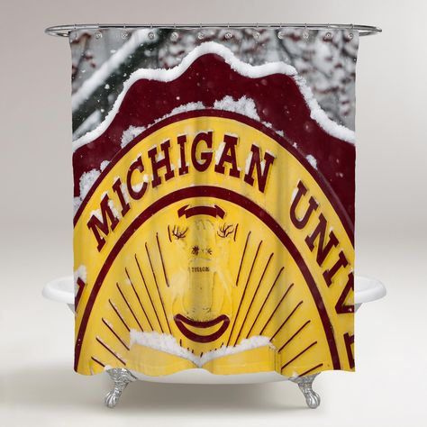 Central Michigan Chippewas Stamp Wallpaper Printed Shower Curtain Bathroom Decor Price Bathroom Shower Curtains Shower Curtain Personalized Shower Curtain