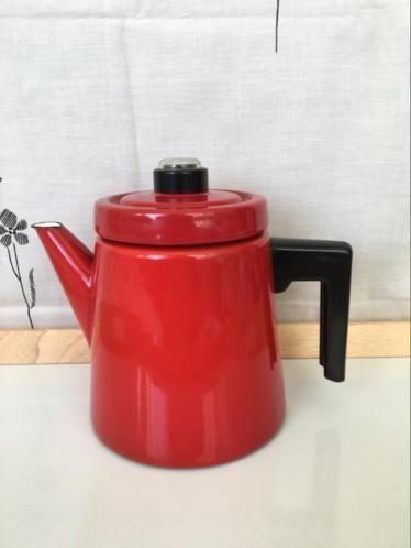 ≥ Arabia Wartsila Finland, Finel, rode koffiepot/koffiekan
