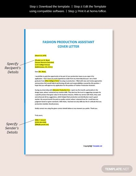 Fashion Production Assistant Cover Letter Template Free Pdf Google Docs Word Template Net Cover Letter Template Free Cover Letter Template Lettering