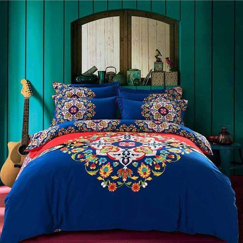 Gorgeous High Quality Boho Style Duvet Cover Bed Sheet Queen King In