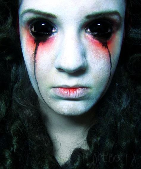 The demon is finally resonating within her soul... and the last ounce of humanity left within her was her fallen tears.  A simple, yet scary demonic possession makeup effect. / Paired with possessed style contacts for the ultimate effect => http://www.pinterest.com/pin/350717889705707881/